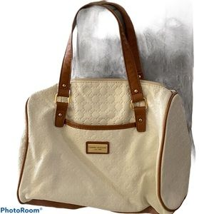 Tommy Hilfiger white tan leather tote-bag